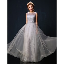 Australia Formal Dress Evening Gowns Ruby Silver Petite A Line Jewel Long Floor Length Lace Dress Tulle