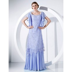 Australia Formal Dress Evening Gowns Military Ball Dress Lavender Plus Sizes Dresses Petite A-line Princess Scoop Long Floor-length Chiffon Lace