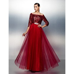 Dress Burgundy Plus Sizes Dresses Petite A-line Bateau Long Floor-length Tulle Dress Sequined