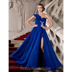 Australia Formal Evening Dress Prom Gowns Military Ball Dress Royal Blue Plus Sizes Dresses Petite A-line Princess Sexy One Shoulder Long Floor-length Chiffon