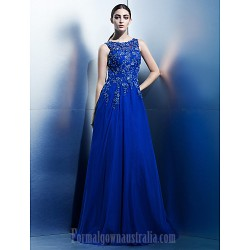 Australia Formal Dress Evening Gowns Royal Blue A-line Scoop Long Floor-length Chiffon