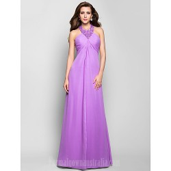 Australia Formal Dress Evening Gowns Prom Gowns Military Ball Dress Lilac Plus Sizes Dresses Petite A-line Halter Long Floor-length Chiffon