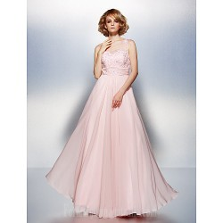 Dress Blushing Pink Plus Sizes Dresses Petite A-line Scoop Long Floor-length Chiffon