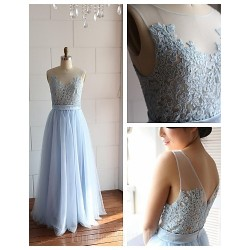 Australia Formal Dress Evening Gowns Ivory Sky Blue A Line Scoop Long Floor Length Lace Dress Tulle