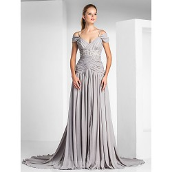 Australia Formal Dress Evening Gowns Silver Plus Sizes Dresses Petite A-line Princess Off-the-shoulder Spaghetti Straps Court Train Chiffon Charmeuse