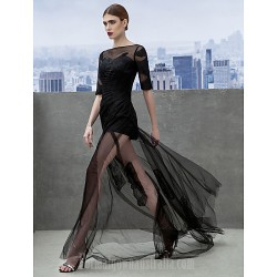 Australia Formal Dress Evening Gowns Black A-line Bateau Court Train Tulle