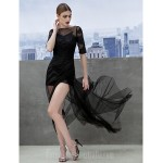 Australia Formal Dress Evening Gowns Black A-line Bateau Court Train Tulle Formal Dress Australia