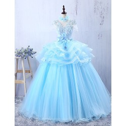 Australia Formal Dress Evening Gowns Sky Blue A Line Jewel Long Floor Length Tulle Dress