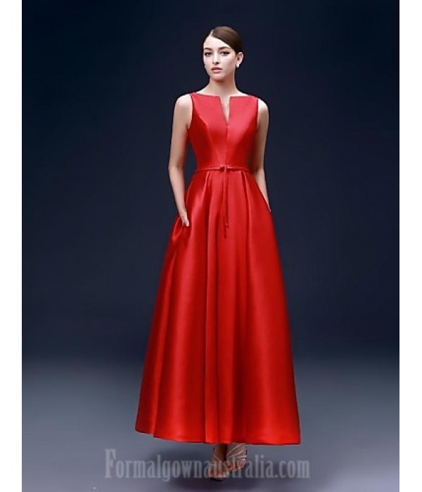 Australia Formal Dress Evening Gowns Ruby Plus Sizes Dresses A-line Bateau Ankle-length Satin Formal Dress Australia