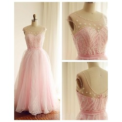 Australia Formal Dress Evening Gowns Blushing Pink A-line Scoop Long Floor-length Organza