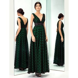 Prom Gowns Military Ball Australia Formal Evening Dress Dark Green Plus Sizes Dresses Petite A-line V-neck Long Floor-length Lace Dress Taffeta