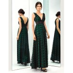 Prom Gowns Military Ball Australia Formal Dress Evening Gowns Dark Green Plus Sizes Dresses Petite A-line V-neck Long Floor-length Lace Dress Taffeta Formal Dress Australia