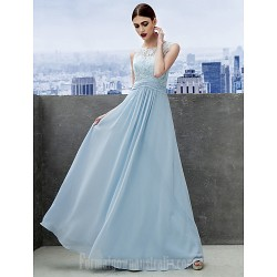 Australia Formal Dress Evening Gowns Sky Blue A-line Scoop Long Floor-length Chiffon Lace