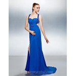 Australia Formal Dress Evening Gowns Royal Blue Plus Sizes Dresses Petite A-line Straps Court Train Georgette Formal Dress Australia