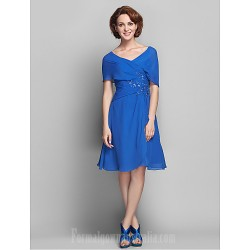 A-line Plus Sizes Dresses Petite Mother of the Bride Dress Royal Blue Short Knee-length Short Sleeve Chiffon