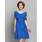 A-line Plus Sizes Dresses Petite Mother of the Bride Dress Royal Blue Short Knee-length Short Sleeve Chiffon Formal Dress Australia