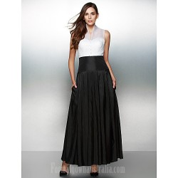Australia Formal Dress Evening Gowns Ivory Black A-line V-neck Ankle-length Organza Taffeta