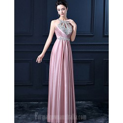 Australia Formal Evening Dress- Pink Sheath Halter Long Floor Length Satin with Sequins Beadings