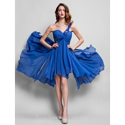 Australia Formal Dresses Cocktail Dress Party Dress Royal Blue Plus Sizes Dresses Petite A-line Sexy One Shoulder Asymmetrical Georgette
