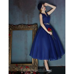 Dress Dark Navy Ball Gown V Neck Tea Length Spandex