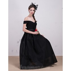 Australia Formal Dress Evening Gowns Black A-line Bateau Tea-length Lace Tulle