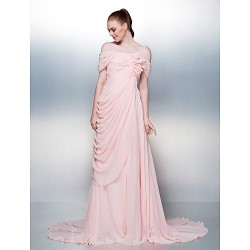 Dress Candy Pink Plus Sizes Dresses Petite A-line Off-the-shoulder Court Train Chiffon