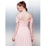Dress Candy Pink Plus Sizes Dresses Petite A-line Off-the-shoulder Court Train Chiffon Formal Dress Australia