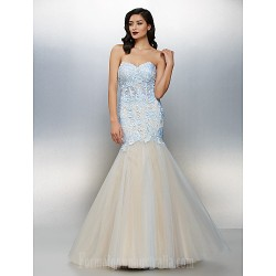 Australia Formal Evening Dress Sky Blue Plus Sizes Dresses Petite Fit Flare Sweetheart Long Floor-length Lace Dress Tulle