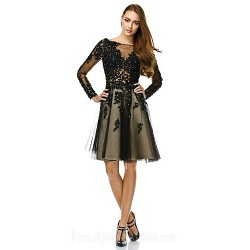 Australia Formal Dresses Cocktail Dress Party Dress Black A Line Bateau Short Knee Length Tulle