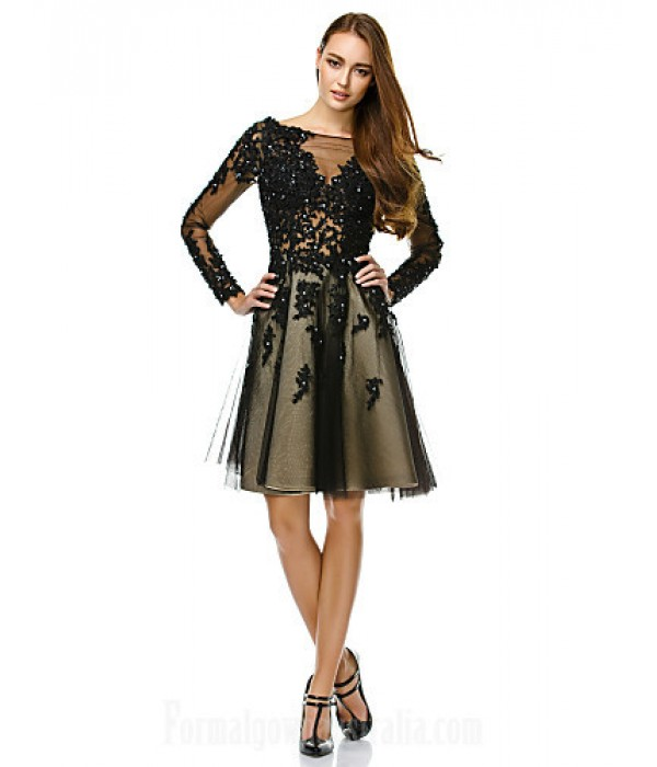 Australia Formal Dresses Cocktail Dress Party Dress Black A-line Bateau Short Knee-length Tulle Formal Dress Australia