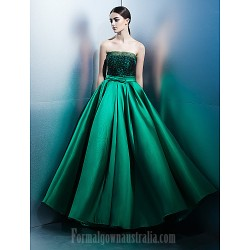 Australia Formal Dress Evening Gowns Jade A-line Strapless Long Floor-length Lace Dress Satin