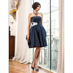 Australia Cocktail Party Dresses Holiday Dress Dark Navy Plus Sizes Dresses Petite A-line Strapless Short Knee-length Satin