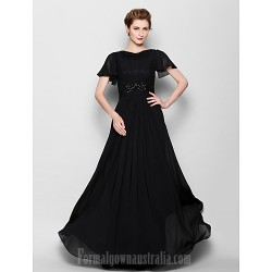 A-line Plus Sizes Dresses Petite Mother of the Bride Dress Black Long Floor-length Short Sleeve Chiffon