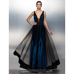 Australia Formal Dress Evening Gowns Ink Blue Plus Sizes Dresses Petite A-line V-neck Long Floor-length Tulle Dress