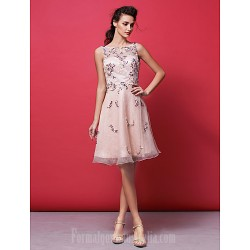 Australia Formal Dresses Cocktail Dress Party Dress Pearl Pink Plus Sizes Dresses Petite A-line Princess Bateau Short Knee-length Organza