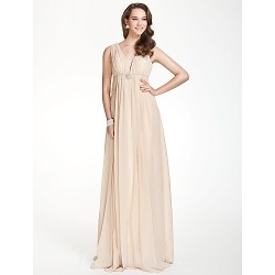 Long Floor-length Chiffon Bridesmaid Dress Champagne Plus Sizes Dresses Petite A-line V-neck