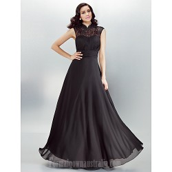Australia Formal Dress Evening Gowns Black Plus Sizes Dresses Petite A Line High Neck Long Floor Length Chiffon