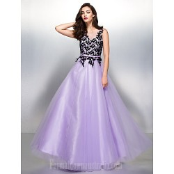Australia Formal Dress Evening Gowns Lavender A-line V-neck Long Floor-length Lace Dress Tulle