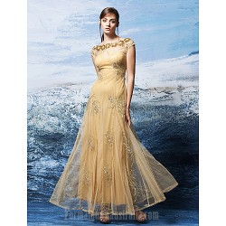 Australia Formal Dress Evening Gowns Gold Plus Sizes Dresses Petite A-line Bateau Ankle-length Tulle