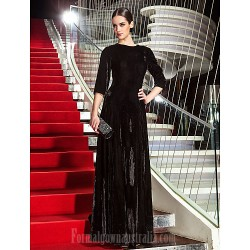 Australia Formal Evening Dress Military Ball Dress Black Plus Sizes Dresses Petite A-line Jewel Long Floor-length Velvet