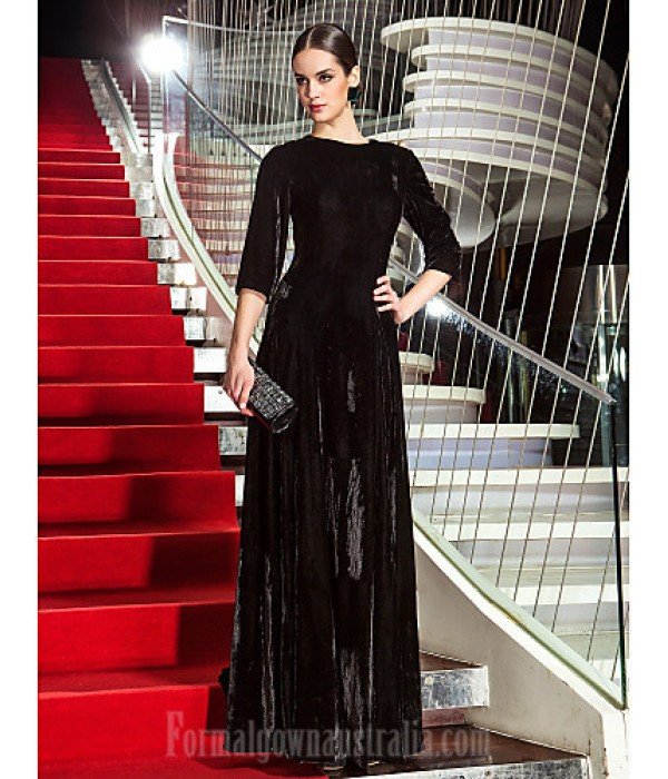 Australia Formal Dress Evening Gowns Military Ball Dress Black Plus Sizes Dresses Petite A-line Jewel Long Floor-length Velvet Formal Dress Australia