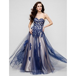 Australia Formal Dress Evening Gowns Ink Blue Plus Sizes Dresses Petite A-line Sweetheart Long Floor-length Tulle Dress