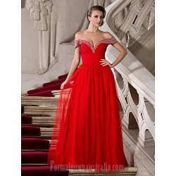 Australia Formal Evening Dress Prom Gowns Military Ball Dress Ruby Plus Sizes Dresses Petite A-line Princess Off-the-shoulder Sweetheart Long Floor-lengthTulle