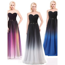 Australia Formal Dresses Cocktail Dress Party Dress Silver Multi Color Ocean Blue Ball Gown V Neck Long Floor Length Chiffon Charmeuse