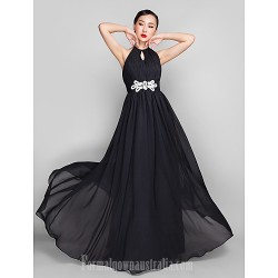 Military Ball Australia Formal Dress Evening Gowns Wedding Party Dress Black Plus Sizes Dresses Petite A-line High Neck Long Floor-length Chiffon