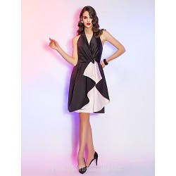 Australia Cocktail Party Dresses Holiday Dress Black Plus Sizes Dresses Petite A-line Halter Short Knee-length Satin