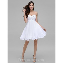 Australia Formal Dresses Cocktail Dress Party Dress White A Line Sweetheart Short Knee Length Chiffon