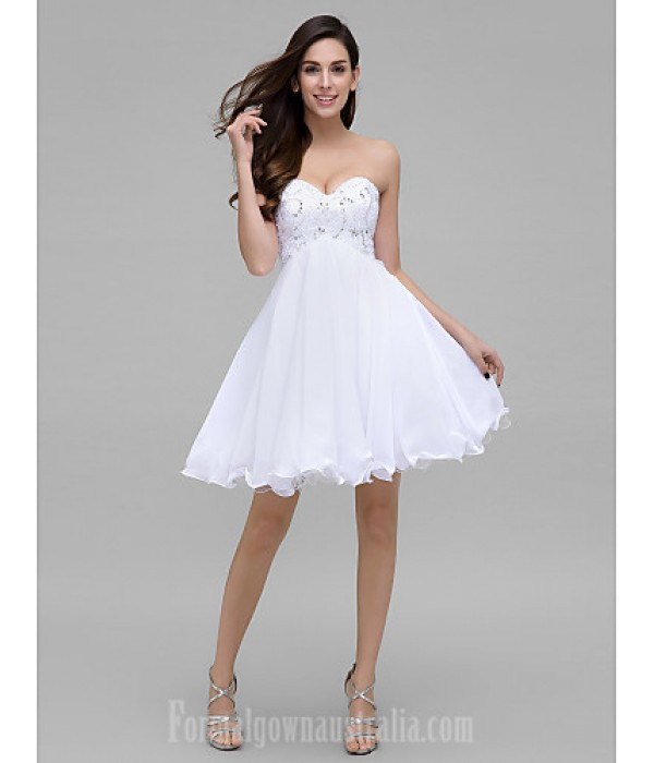 Australia Formal Dresses Cocktail Dress Party Dress White A-line Sweetheart Short Knee-length Chiffon Formal Dress Australia