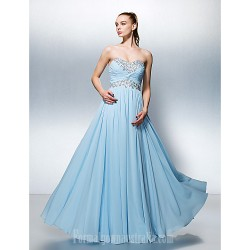 Australia Formal Dress Evening Gowns Sky Blue Plus Sizes Dresses Petite A-line Sweetheart Long Floor-length Georgette