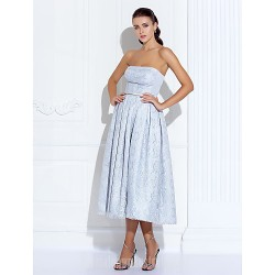 Australia Cocktail Party Dresses Prom Gowns Holiday Dress Silver Plus Sizes Dresses Petite A-line Strapless Tea-length Satin Lace